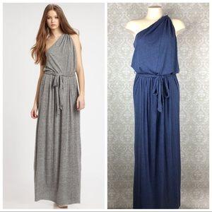 REBECCA TAYLOR Blue One Shoulder Maxi Dress